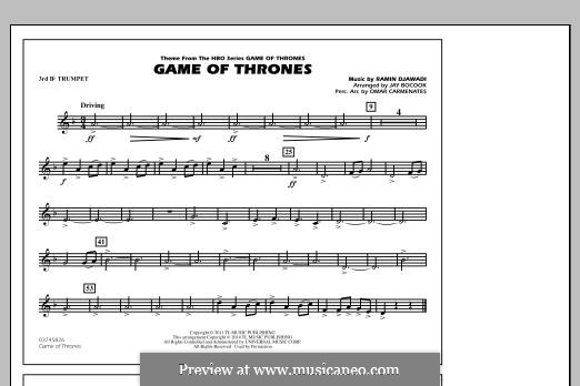 Game of Thrones (arr. Jay Bocook): 3rd Bb Trumpet part by Ramin Djawadi