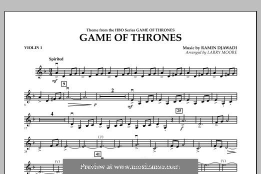 Game of Thrones: For string orchestra, piano and percussion - violin 1 part by Ramin Djawadi