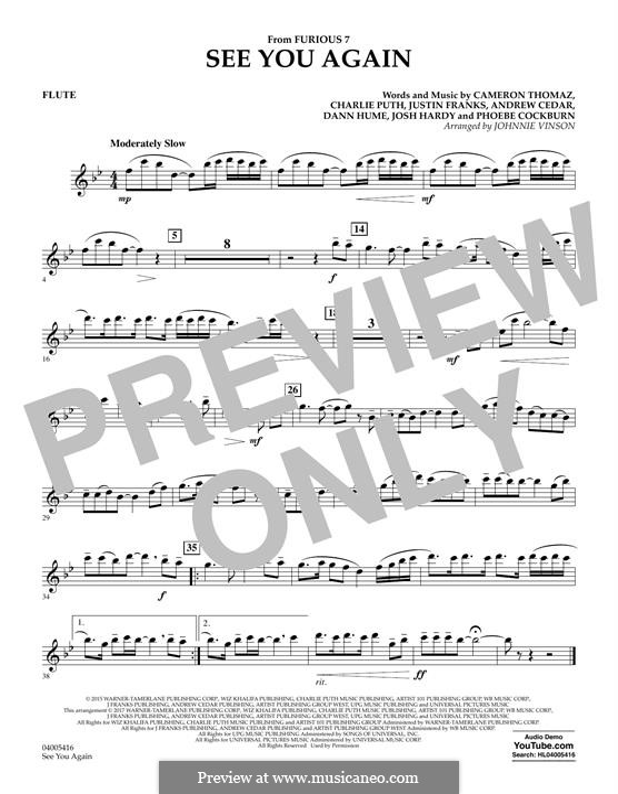 See You Again (Wiz Khalifa feat. Charlie Puth): Flötenstimme by Justin Franks, Wiz Khalifa, Andrew Cedar, Charlie Puth
