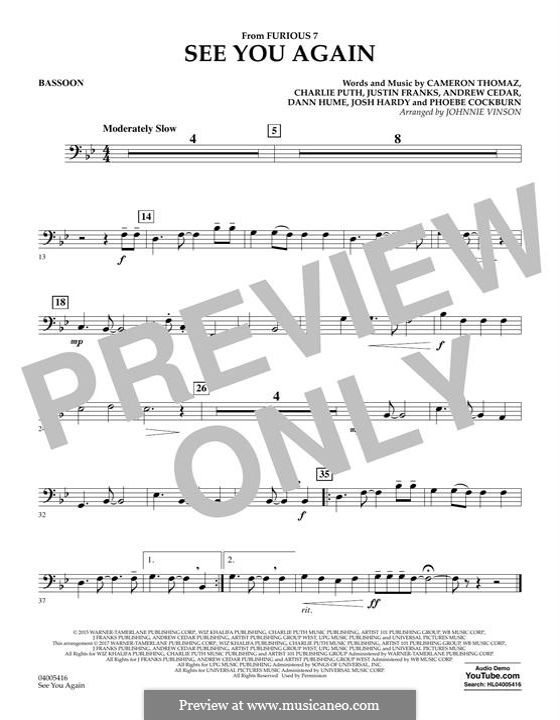 See You Again (Wiz Khalifa feat. Charlie Puth): Fagottstimme by Justin Franks, Wiz Khalifa, Andrew Cedar, Charlie Puth