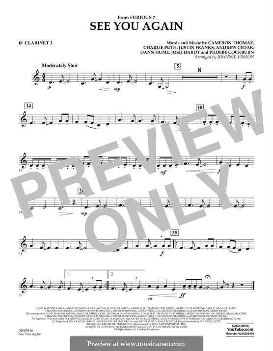 See You Again (Wiz Khalifa feat. Charlie Puth): Bb Clarinet 3 part by Justin Franks, Wiz Khalifa, Andrew Cedar, Charlie Puth