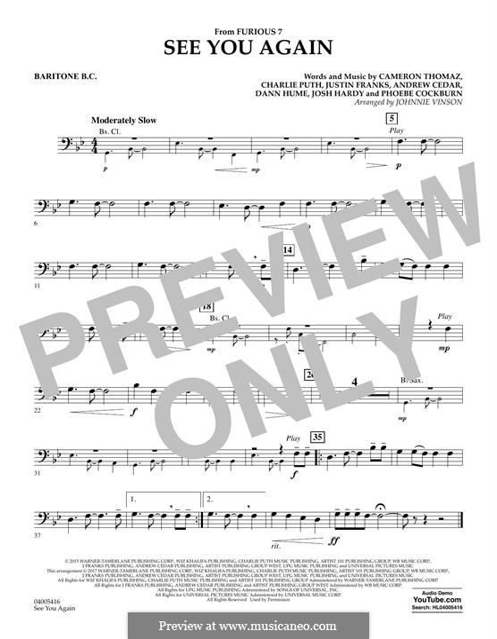 See You Again (Wiz Khalifa feat. Charlie Puth): Baritone B.C. part by Justin Franks, Wiz Khalifa, Andrew Cedar, Charlie Puth