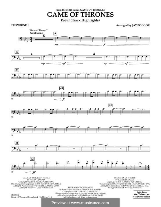 Game of Thrones (Soundtrack Highlights): Trombone 1 part by Ramin Djawadi