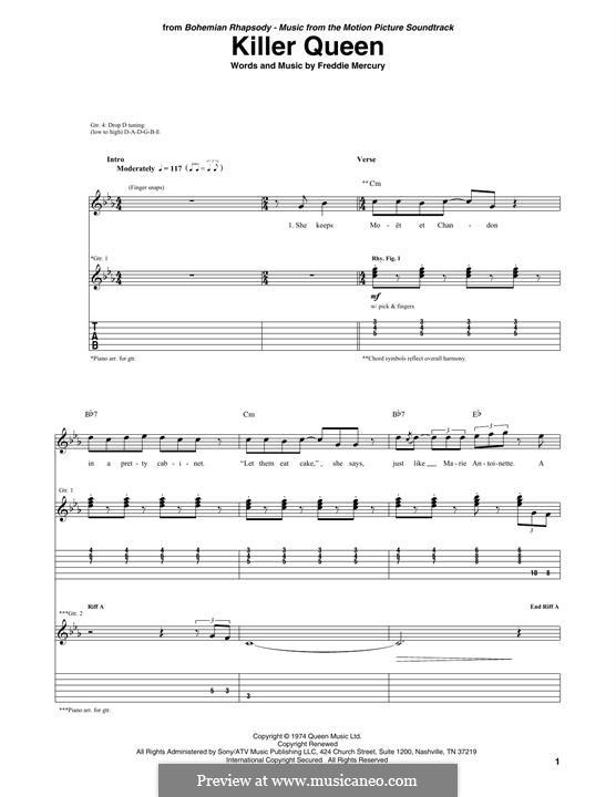 Killer Queen (Queen): Für Gitarre mit Tabulatur by Freddie Mercury