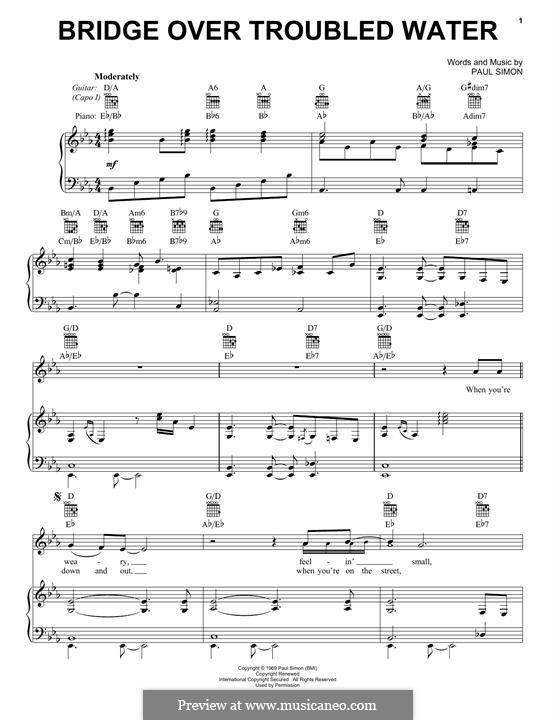 Bridge Over Troubled Water: Für Stimme und Klavier (oder Gitarre) by Paul Simon