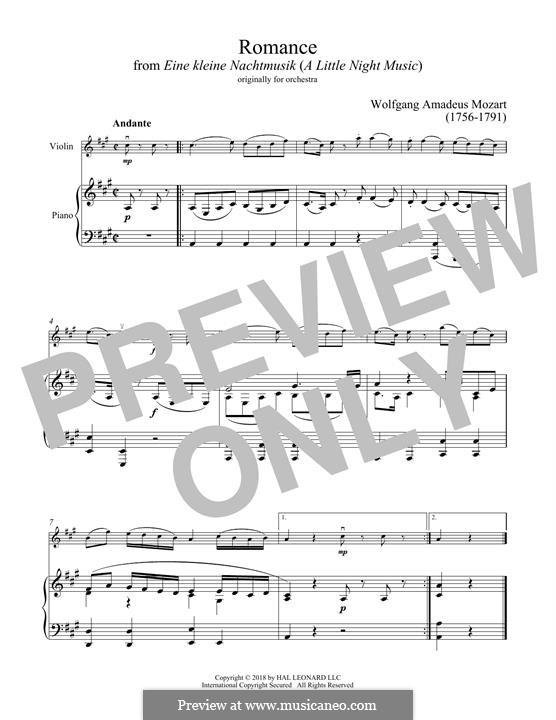 Romanze: Für Violine und Klavier by Wolfgang Amadeus Mozart