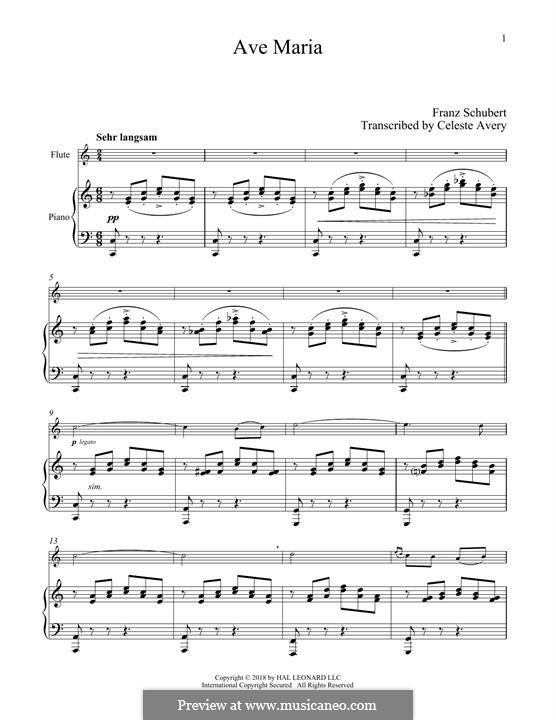 Ave Maria (Printable Scores), D.839 Op.52 No.6: Für Flöte und Piano by Franz Schubert