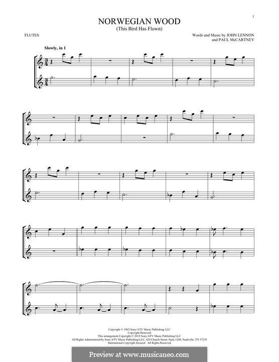 Norwegian Wood (This Bird Has Flown): Für zwei Flöten by John Lennon, Paul McCartney