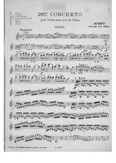 Violinkonzert Nr.28 in a-Moll: Version für Violine und Klavier – Violinstimme by Giovanni Battista Viotti