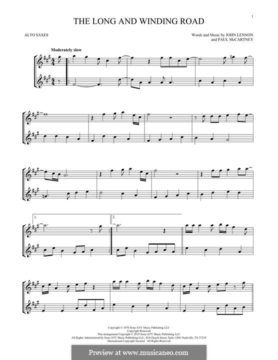 The Long and Winding Road (The Beatles): For two alto saxophones by John Lennon, Paul McCartney