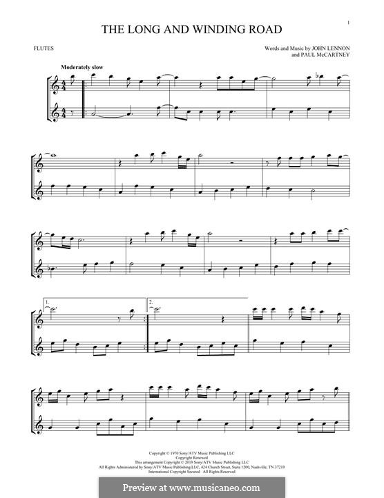 The Long and Winding Road (The Beatles): Für zwei Flöten by John Lennon, Paul McCartney