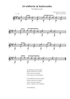 Un elefante se balanceaba: For guitar solo (A Major) by folklore
