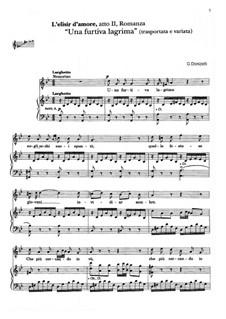 Der Liebestrank: Act II, Romance Nemorino 'Una furtiva lagrima' (transporta e variata) by Gaetano Donizetti