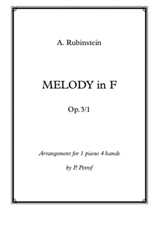 Zwei Melodien, Op.3: Melody No.1, for piano four hands by Anton Rubinstein
