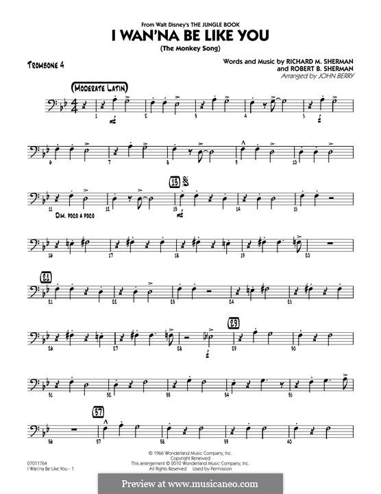 I Wanna Be Like You (The Monkey Song): Trombone 4 part (arr. John Berry) by Richard M. Sherman, Robert B. Sherman