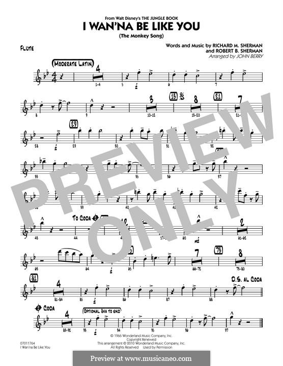 I Wanna Be Like You (The Monkey Song): Flute part (arr. John Berry) by Richard M. Sherman, Robert B. Sherman