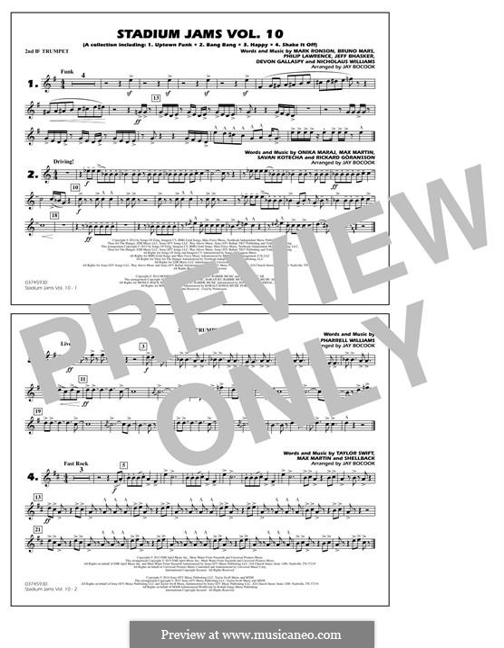 Stadium Jams Vol.10: 2nd Bb Trumpet part by Jeff Bhasker, Mark Ronson, Bruno Mars, Philip Lawrence, Devon Gallaspy, Nicholaus Williams