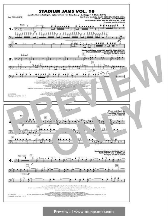 Stadium Jams Vol.10: 2nd Trombone part by Jeff Bhasker, Mark Ronson, Bruno Mars, Philip Lawrence, Devon Gallaspy, Nicholaus Williams