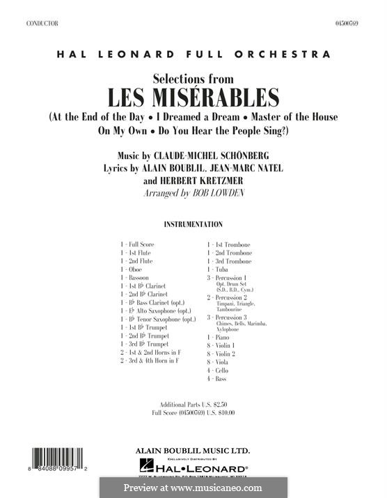 Selections (arr. Bob Lowden): Vollpartitur by Claude-Michel Schönberg