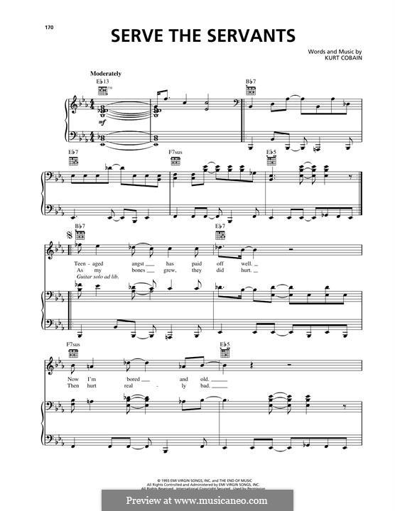 Serve the Servants (Nirvana): Für Stimme und Klavier (oder Gitarre) by Kurt Cobain