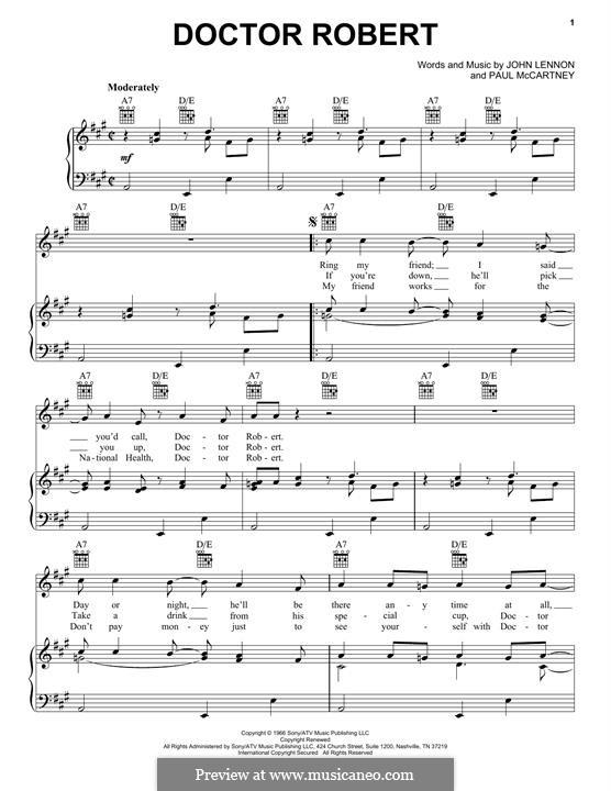 Doctor Robert (The Beatles): Für Stimme und Klavier (oder Gitarre) by John Lennon, Paul McCartney