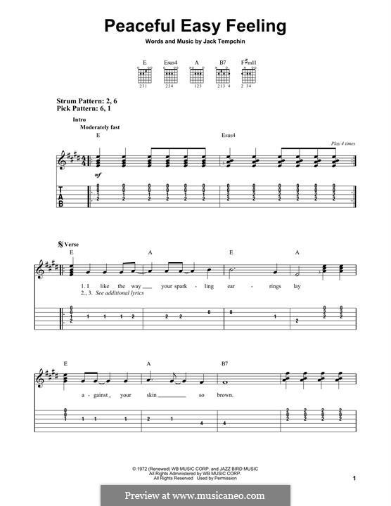 Peaceful Easy Feeling (The Eagles): Für Gitarre mit Tabulatur by Jack Tempchin
