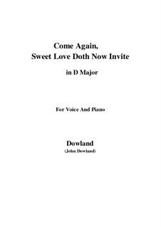 Come Again: Für Stimme und Klavier (D Major) by John Dowland