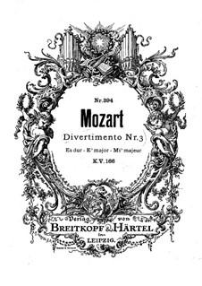 Divertissement in Es-Dur, K.166: For wind ensemble by Wolfgang Amadeus Mozart