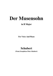 Der Musensohn, D.764 Op.92 No.1: For voice and piano (B Major) by Franz Schubert