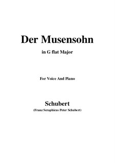 Der Musensohn, D.764 Op.92 No.1: For voice and piano (G flat Major) by Franz Schubert