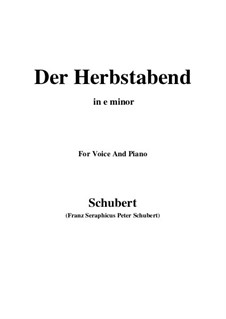 Der Herbstabend, D.405: E minor by Franz Schubert
