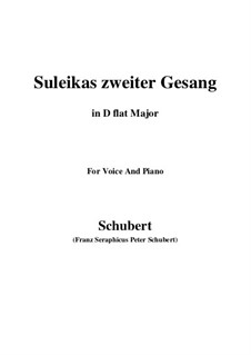 Suleika II, D.717 Op.31: For voice and piano (D flat Major) by Franz Schubert