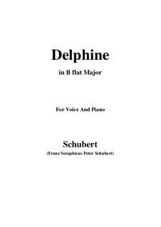 Zwei Szenen aus 'Lacrimas' von Schütz, D.857 Op.124: No.2 Delphine, for voice and piano (B flat Major) by Franz Schubert
