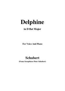 Zwei Szenen aus 'Lacrimas' von Schütz, D.857 Op.124: No.2 Delphine, for voice and piano (D flat Major) by Franz Schubert