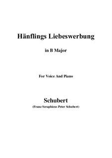 Hänflings Liebeswerbung, D.552 Op.20 No.3: For voice and piano (B Major) by Franz Schubert