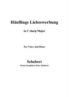 Hänflings Liebeswerbung, D.552 Op.20 No.3: For voice and piano (C sharp Major) by Franz Schubert