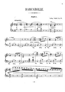 Barkarole für Klavier und Streicher (oder zwei Klaviere), Op.60: Klavierstimme by Ludvig Schytte