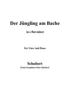 Der Jüngling am Bache, D.192: For voice and piano (e flat minor) by Franz Schubert