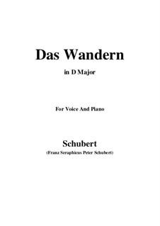 Nr.1 Das Wandern: Für Stimme und Klavier (D Major) by Franz Schubert