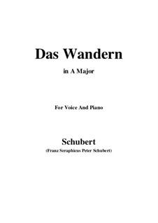 Nr.1 Das Wandern: Für Stimme und Klavier (A Major) by Franz Schubert