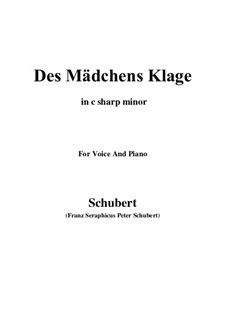 Des Mädchens Klage, D.191 Op.58 No.3: For voice and piano (c sharp minor) by Franz Schubert