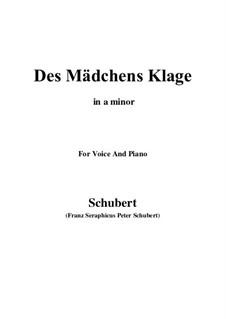 Des Mädchens Klage, D.191 Op.58 No.3: Für Stimme und Klavier (A minor) by Franz Schubert