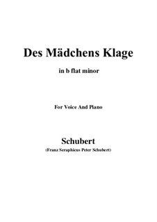 Des Mädchens Klage, D.191 Op.58 No.3: For voice and piano (b flat minor) by Franz Schubert