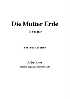 Die Mutter Erde, D.788: E Major by Franz Schubert