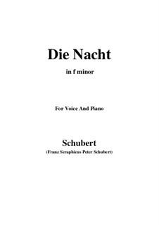 Die Nacht, D.534: F minor by Franz Schubert