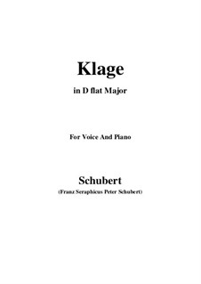 Klage, D.415: For voice and piano (b minor) by Franz Schubert