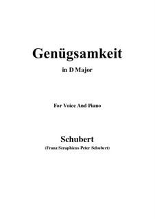 Genügsamkeit, D.143 Op.109 No.2: Für Stimme und Klavier (D Major) by Franz Schubert