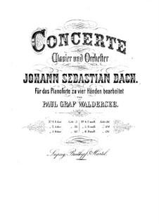 Konzerte für Tasteninstrumente und Orchester: Bearbeitung für Klavier, vierhändig by Johann Sebastian Bach