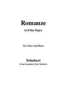 Romanze für Stimme und Klavier, D.114: B flat Major by Franz Schubert