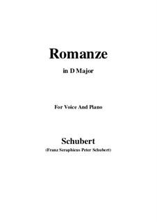 Romanze für Stimme und Klavier, D.114: D Major by Franz Schubert